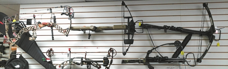 selection of crossbows available at Bank Gun and Pawn in Havre de Grace, MD