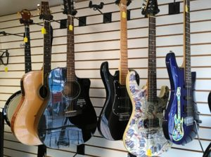guitar selection at Bank Gun and Pawn in Havre de Grace, MD